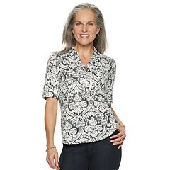 Women's Croft & Barrow® Slubbed Roll-Tab Shirt