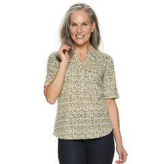 Women's Croft & Barrow® Slubbed Roll-Tab Shirt