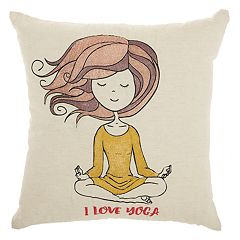Mina Victory Trendy, Hip, & New Age 'I Love Yoga' Throw Pillow