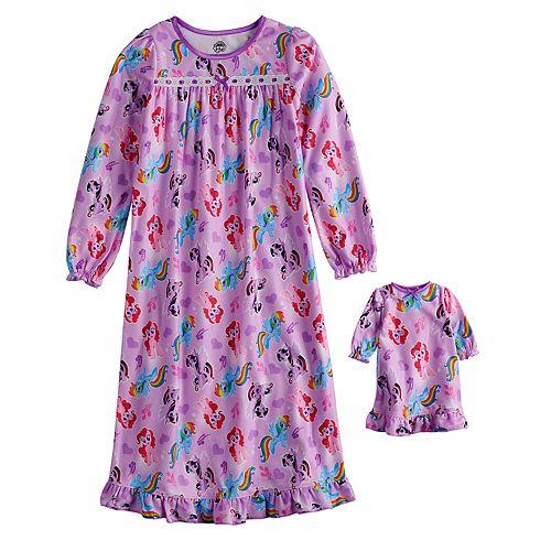 Girls 4-8 My Little Pony Rainbow Dash, Pinkie Pie & Twilight Sparkle Nightgown & Matching Doll Nightgown