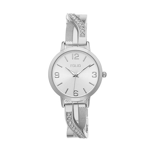Folio Women's Crystal Criss Cross Half Bangle Watch