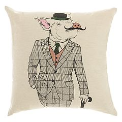 Mina Victory Trendy, Hip, & New Age Mustache Pig Throw Pillow