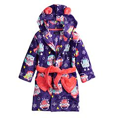 Toddler Girl Cuddl Duds Owl & Hearts Hooded Robe