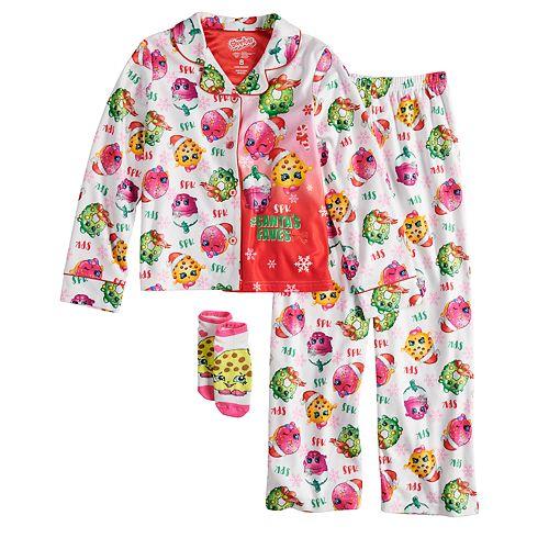 Girls 6-10 Shopkins Christmas Top & Bottoms Pajama Set with Socks