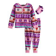 Toddler Girl Cuddl Duds Fairisle Fox Fleece Top & Bottoms Pajama Set with Socks