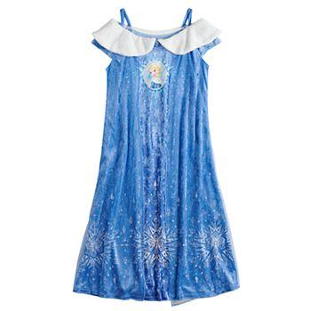 Disney\'s Frozen Elsa Girls 4-8 Fantasy Gown Crushed Velvet Nightgown