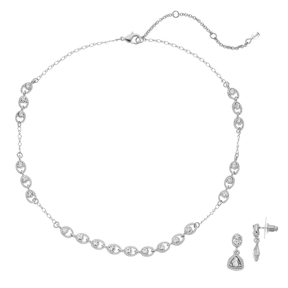 Napier Simulated Crystal Necklace & Drop Earring Set