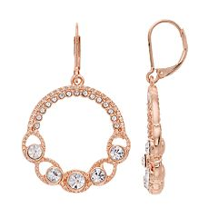 Napier Simulated Crystal Hoop Drop Earrings