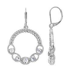 Napier Simulated Crystal Hoop Drop Earrings