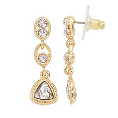 Napier Simulated Crystal Linear Drop Earrings