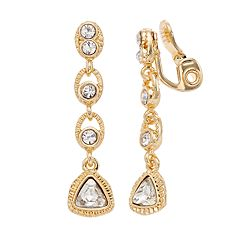 Napier Simulated Crystal Linear Drop Clip-On Earrings