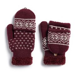 Women's SONOMA Goods for Life™ Snowflake Knit Flip-Top Mittens