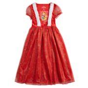 Disney Princess Belle, Ariel & Rapunzel Girls 4-8 Crushed Velvet Christmas Fantasy Gown Nightgown