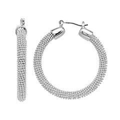 Napier Bead Textured Hoop Earrings