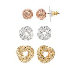 Napier Tri Tone Knot Stud Earring Set