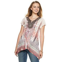 Women's World Unity Crochet Shark-Bite Hem Top