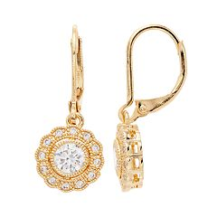 Napier Cubic Zirconia Flower Drop Earrings