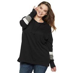 Juniors' Plus Size SO® Stripe Sleeve Oversized Hoodie