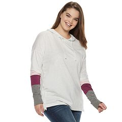 Juniors' Plus Size SO® Stripe Sleeve Oversized Hoodie