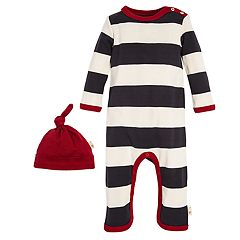 Baby Burt's Bees Baby Organic Striped Coverall & Hat Set