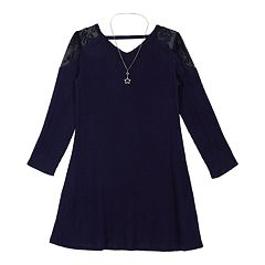 Girls 7-16 IZ Amy Byer Lace Shoulder Knit Swing Dress with Necklace