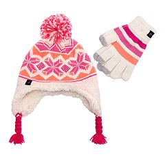 Girls 7-16 Fairisle Ear Flap Hat & Tech Touch Gloves Set