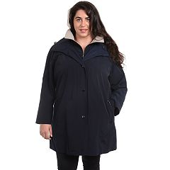 Plus Size Fleet Street Hooded Faux Silk Jacket