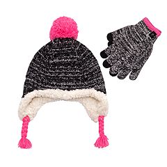 Girls 7-16 Cable-Knit Ear Flap Hat & Tech Touch Gloves Set