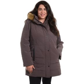 Plus Size Fleet Street Quilted Faux Silk Hooded Jacket