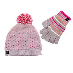 Girls 7-16 Pom Hat & Tech Touch Gloves Set