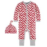 Baby Burt's Bees Baby Organic Watercolor Chevron Coverall & Hat Set