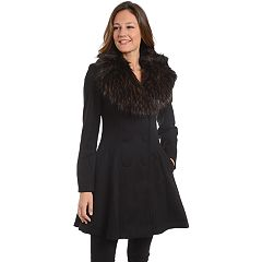 Women's Fleet Street Faux-Fur Collar Fit & Flare Coat