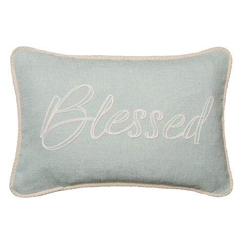 Spencer Home Decor ''Blessed'' Embroidered Oblong Throw Pillow