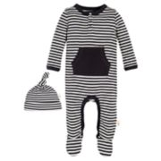Baby Burt's Bees Baby Organic Striped Footed Coverall & Hat Set