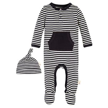 93a100dc351 Baby Burt's Bees Baby Organic Striped Footed Coverall & Hat Set