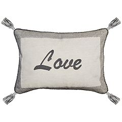Spencer Home Decor ''Love'' Embroidered Oblong Throw Pillow