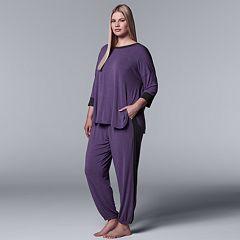 Plus Size Simply Vera Vera Wang Tee & Jogger Pajama Set