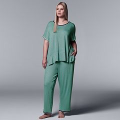 Plus Size Simply Vera Vera Wang Tee & Pants Pajama Set