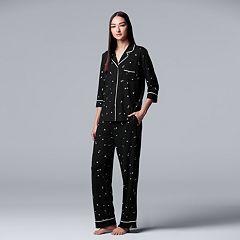 Women's Simply Vera Vera Wang Notch Collar Shirt & Pants Pajama Set