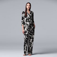 Women's Simply Vera Vera Wang Notch Collar Shirt & Pants Pajama Set