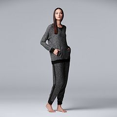 Women's Simply Vera Vera Wang Marled Top & Jogger Pajama Set