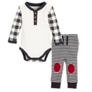 Baby Burt's Bees Baby Organic Buffalo Check Bodysuit & Striped Pants Set