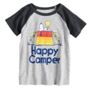 "Toddler Boy Jumping Beans® Peanuts Snoopy ""Happy Camper"" Raglan Graphic Tee"