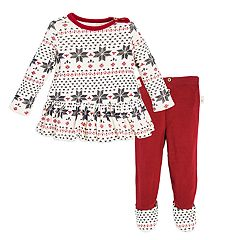 Baby Girl Burt's Bees Baby Organic Fairisle Ruffled Dress & Footed Pants Set