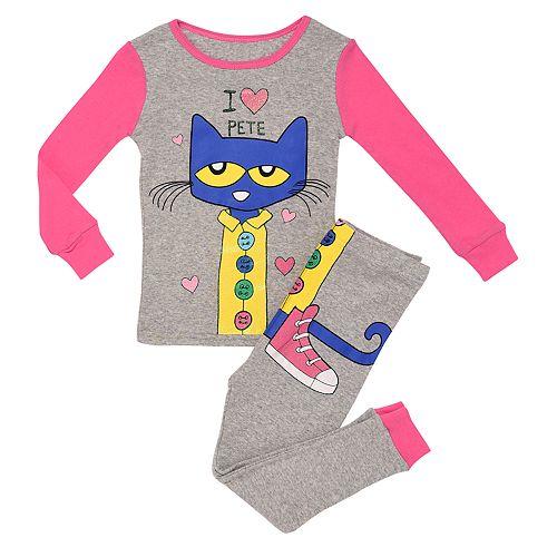"""Toddler Girl """"I Love Pete"""" the Cat Top & Bottoms Pajama Set"""