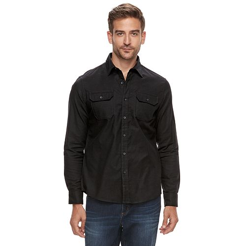 Men's Apt. 9® Brushed Nep 2-Pocket Woven Button-Down Shirt