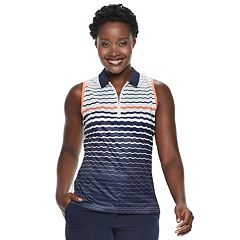 Women's Grand Slam Sleeveless Stripe Print Golf Polo
