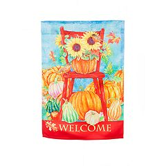 'Welcome' Pumpkin Indoor / Outdoor Garden Flag