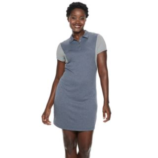 Women's Grand Slam Short Sleeve Heather Color Block Golf Dress