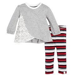 Baby Girl Burt's Bees Baby Organic Crochet Tunic & Striped Leggings Set